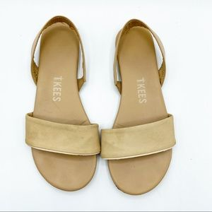 TKEES Charlie Tan Sandals Leather Suede Flats 7